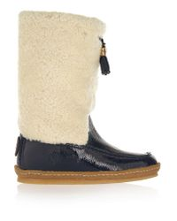 Tory Burch | Blue Lenore Shearling And Patent-leather Boots | Lyst