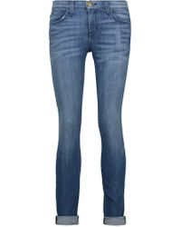 Current/Elliott | Blue The Rolled Mid-rise Skinny Jeans | Lyst