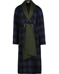 SUNO   Multicolor Belted Plaid Wool-blend Coat   Lyst