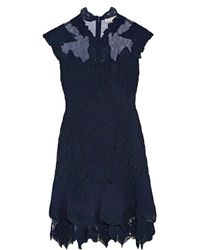 Jonathan Simkhai - Blue Jersey And Tulle-trimmed Corded Lace Mini Dress - Lyst
