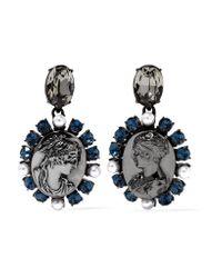 Oscar de la Renta - Metallic Gunmetal-tone Crystal And Faux Pearl Clip Earrings - Lyst
