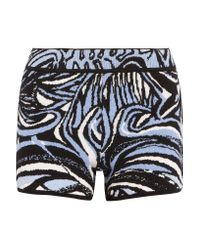 Emilio Pucci - Blue Intarsia-knit Cotton-blend Shorts - Lyst