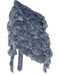 Marques'Almeida | Blue Open-back Ruffled Cotton-chambray Top | Lyst
