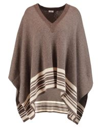 VINCE   Brown Striped Wool And Cashmere-blend Poncho   Lyst