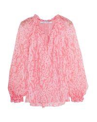 Diane von Furstenberg   Pink Wynn Ruffled Printed Silk-chiffon Blouse   Lyst