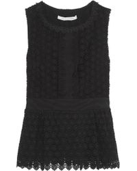 Diane von Furstenberg. Women's Black Tavita Mesh-trimmed Cotton-lace Top