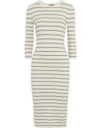 Theory | White Delissa Striped Stretch-knit Midi Dress | Lyst