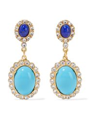 Ben-Amun | Blue Gold-plated, Crystal And Stone Earrings | Lyst