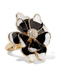 Kenneth Jay Lane - Black Gold-tone Crystal Ring - Lyst