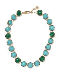 Tory Burch | Blue Tacher Gold-tone Stone Necklace | Lyst