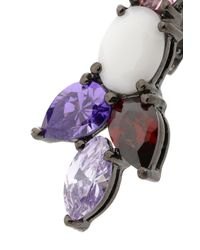 Iosselliani - Multicolor Gunmetal-tone Crystal And Stone Earrings - Lyst