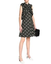Marni - Black Ruffle-trimmed Printed Cotton-poplin Dress - Lyst