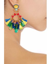 Elizabeth Cole - Woman Burnished 24-karat Gold-plated, Acrylic, Crystal And Tassel Earrings Multicolor - Lyst