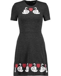 Markus Lupfer - Black Embroidered Cotton And Wool-blend Stretch-jersey Mini Dress - Lyst