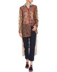 Natasha Zinko - Multicolor Denim-trimmed Appliquéd Tulle And Organza Shirt - Lyst