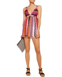 Missoni | Red Metallic Crochet-knit Coverup | Lyst