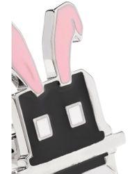 McQ Alexander McQueen - Black Silver-plated Enamel Ring - Lyst