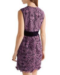 Anna Sui - Purple Camilla Velvet-trimmed Crocheted Lace Mini Dress - Lyst