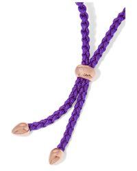 Monica Vinader - Purple Esencia Cord And Rose Gold-tone Friendship Bracelet - Lyst
