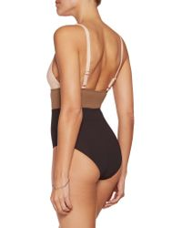 Iris & Ink - Brown Color-block Cutout Swimsuit - Lyst