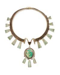 Tory Burch - Metallic Oxidized Gold-tone Stone Necklace - Lyst