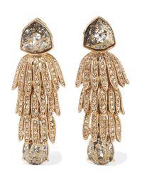 Oscar de la Renta - Metallic Wisteria Gold-tone Crystal Clip Earrings - Lyst