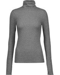 J Brand | Gray Centro Ribbed Stretch-cotton Turtleneck Sweater | Lyst