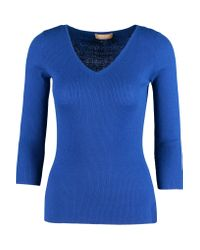 Michael Kors - Blue Ribbed Cashmere Top - Lyst