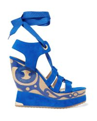Paloma Barceló | Blue Ariella Suede Wedge Sandals | Lyst