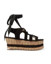 Paloma Barceló | Black Vivianne Suede Basket Wedge Sandals | Lyst