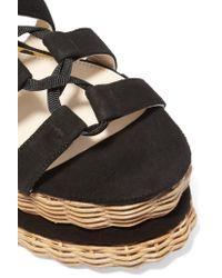 Paloma Barceló - Black Vivianne Suede Basket Wedge Sandals - Lyst