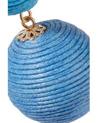 Kenneth Jay Lane - Blue Gold-tone Woven Earrings - Lyst