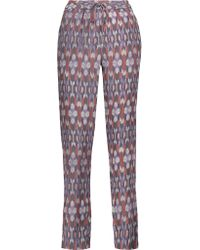 Joie - Multicolor Kira Printed Washed-silk Tapered Pants - Lyst