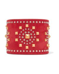 Valentino - Red Studded Suede Cuff - Lyst