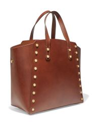 Sandro - Brown Studded Leather Tote - Lyst