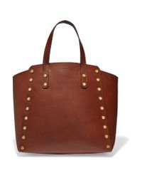 Sandro | Brown Studded Leather Tote | Lyst