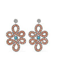 Kenneth Jay Lane - Orange Silver-tone Crystal And Cabochon Earrings - Lyst