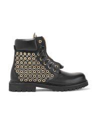 Balmain - Black Eyelet-embellished Leather Ankle Boots - Lyst