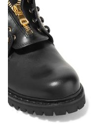Balmain - Black Eyelet-embellished Leather Ankle Boots - Lyst