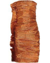 Lanvin | Brown Ruched Lamé Mini Dress | Lyst