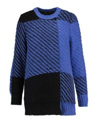 Rag & Bone | Blue Jessa Two-tone Cotton And Wool-blend Sweater | Lyst