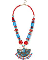Kenneth Jay Lane | Multicolor Gold-tone Bead And Resin Necklace | Lyst