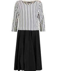 Petit Bateau - Black Layered Striped Cotton Dress - Lyst