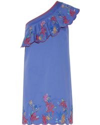 Saloni - Blue Esme One-shoulder Embroidered Washed Stretch-cotton Mini Dress - Lyst