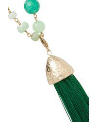 Rosantica - Green Tasseled Gold-tone Beaded Necklace - Lyst