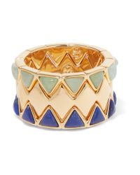 Tory Burch | Metallic Puzzle Set Of Three Gold-tone And Enamel Rings | Lyst