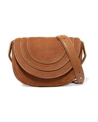 Diane von Furstenberg | Brown Leather-trimmed Nubuck Shoulder Bag | Lyst