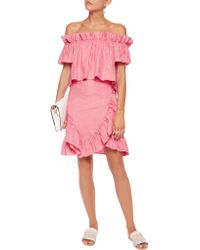 Goen.J - Pink Off-the-shoulder Ruffle-trimmed Wrap-effect Linen Mini Dress - Lyst