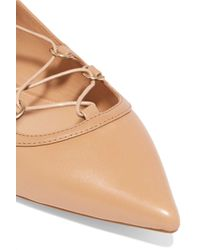 MICHAEL Michael Kors - Natural Lace-up Leather Point-toe Flats - Lyst