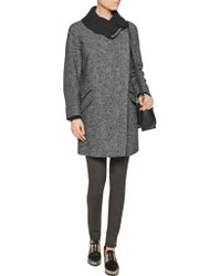 Vince - Gray Leather-trimmed Wool And Cotton-blend Coat - Lyst